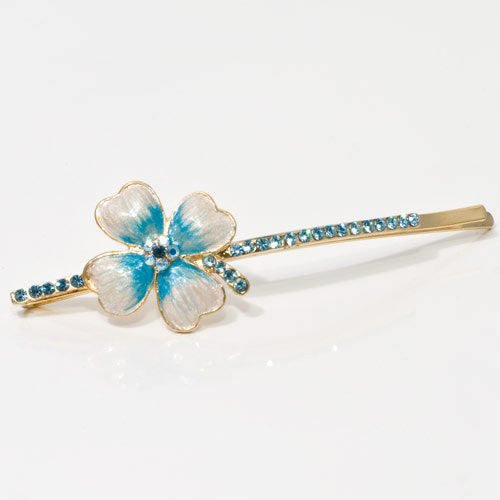 Swarovski Bobby Pin Rhinestones with Painted Flower - 1 piece