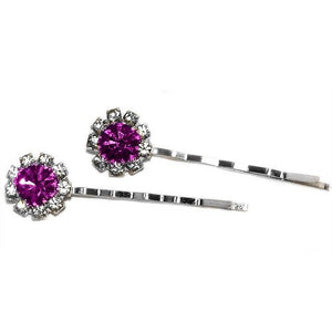 Swarovski Bobby Pins with Crystal Stones - Pair