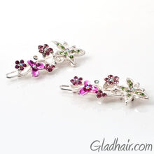 Load image into Gallery viewer, Swarovski Butterfly and Flower Barrette - Pair