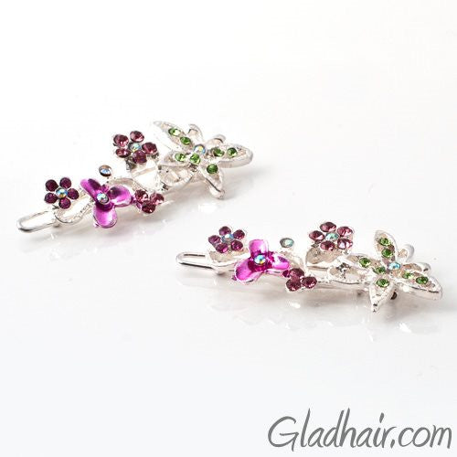 Swarovski Butterfly and Flower Barrette - Pair