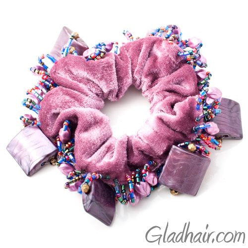 Velvet Schrunchie with Large Beaded Trim