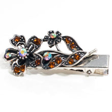 Load image into Gallery viewer, Vintage Crystal Flower on Silver Metal Beak Clip - 1 Piece