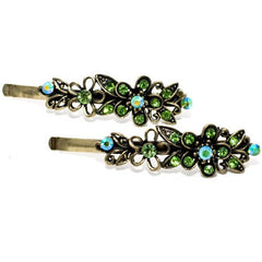 Vintage Gilt Grips with Colored Stone Flower Design - Pair
