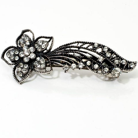 Vintage Silver Color Barrette with Flower and Tails