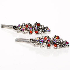 Vintage Silver Grips with Colored Stone Butterfly Design - Pair
