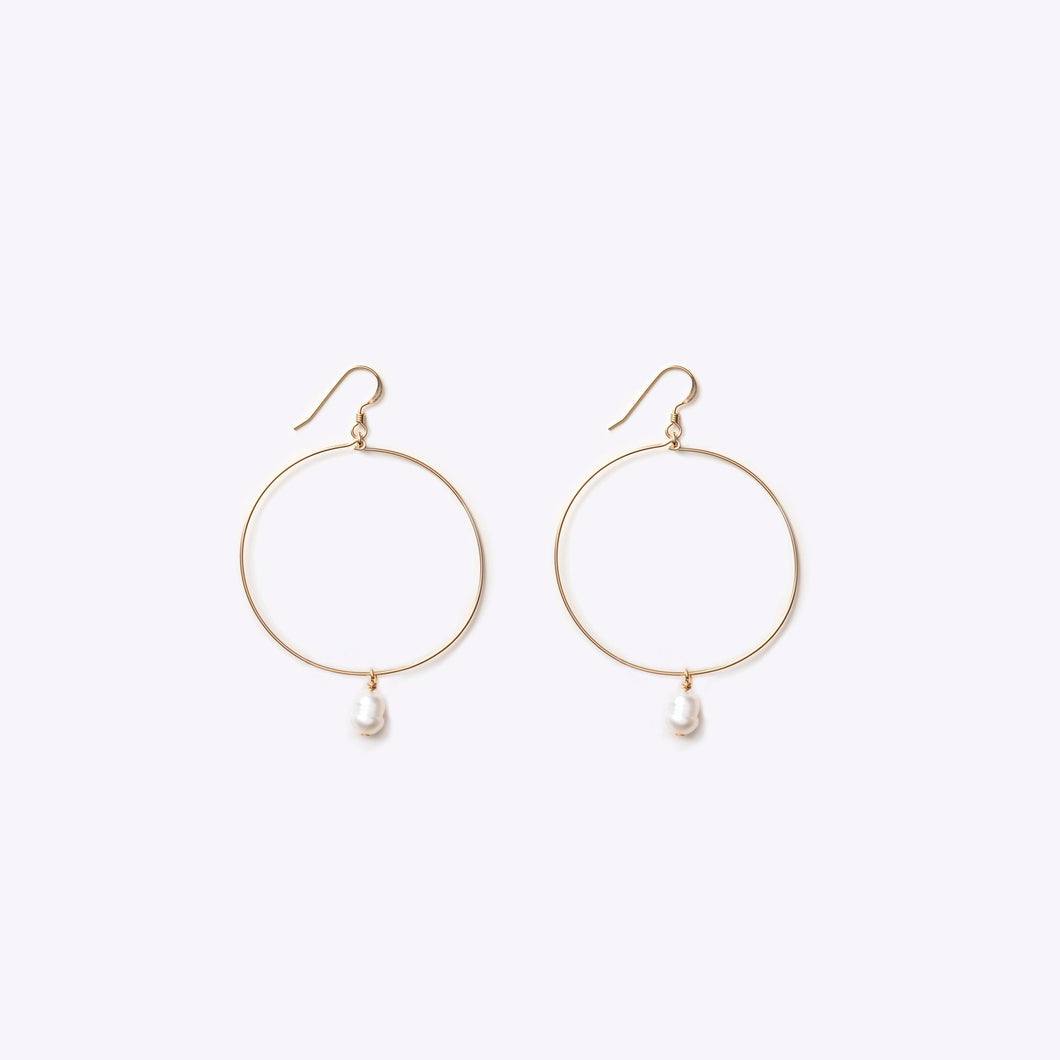 Wanderlustlife Gold Large Hoop Earring with White Pearl