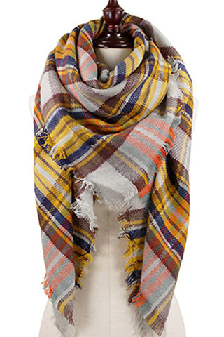 Plaid Oversized Blanket Scarf-Mustard