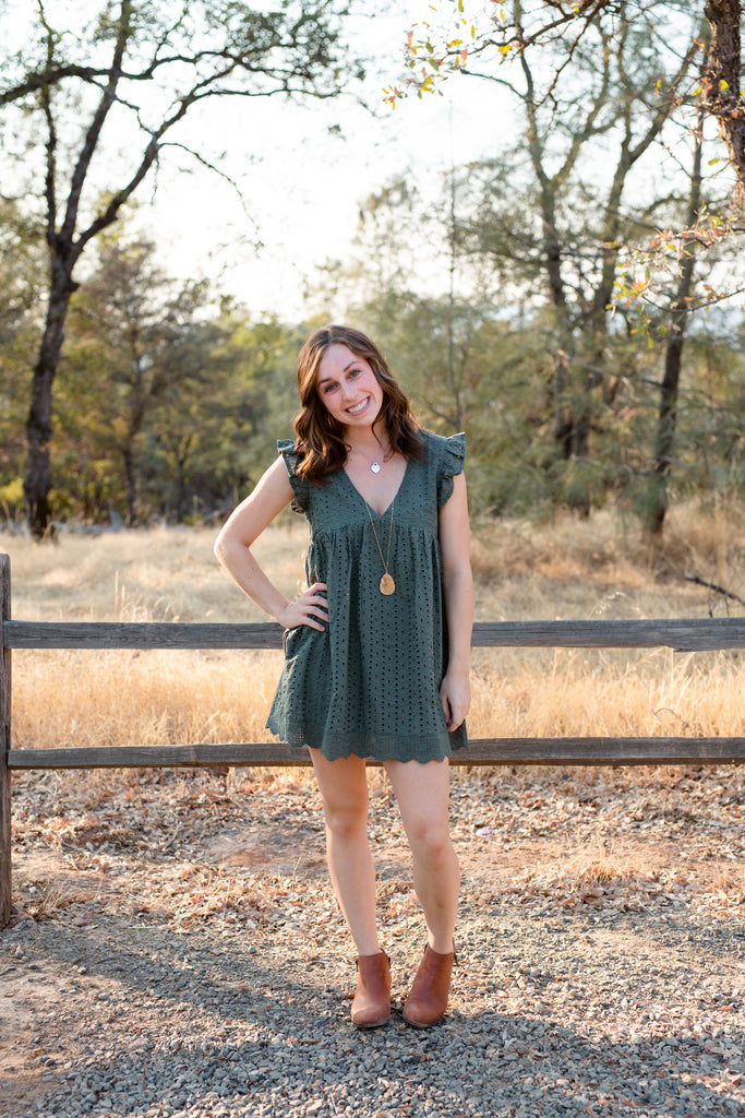 Key To My Heart Deep Green Lace Romper