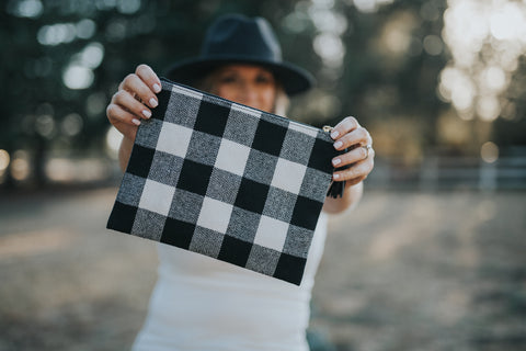Mad For Plaid White & Black Clutch