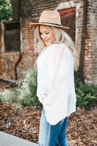 Captured Moments Sweater Top In Ivory