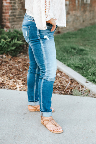 The Natalie Mid Rise Medium Wash Button Fly Jeans