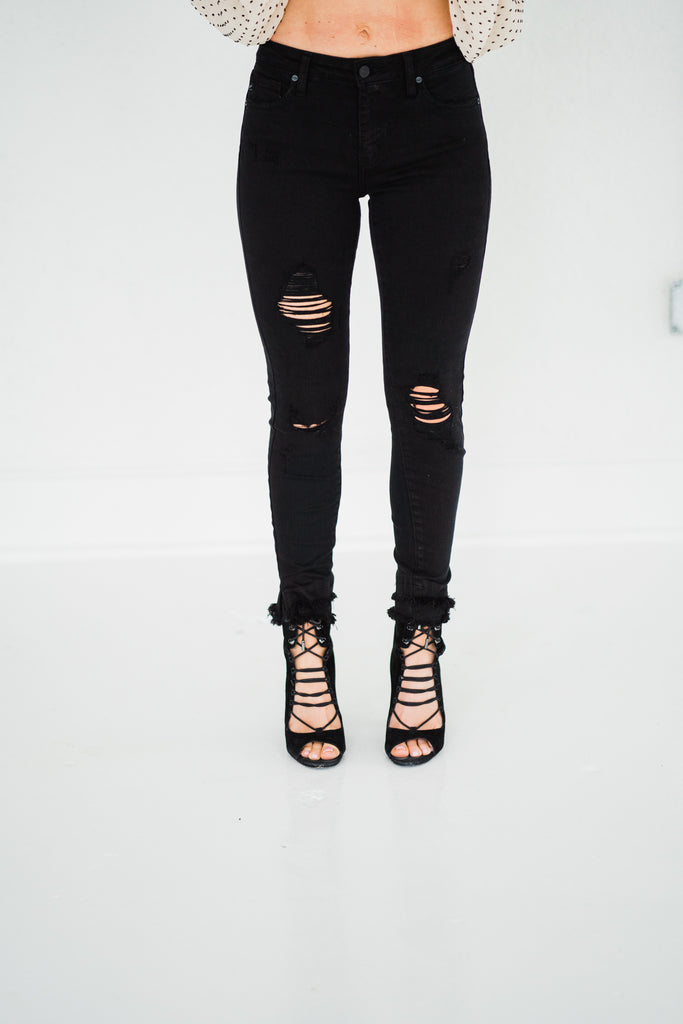 Gemma Mid Rise Black Ankle Skinny Jeans