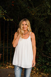 Falling For You Pleated Ivory Tank