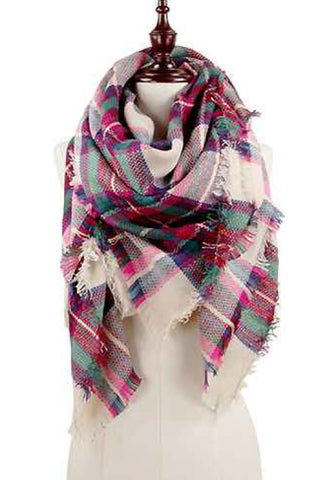 Plaid Oversized Blanket Scarf-Fuchsia
