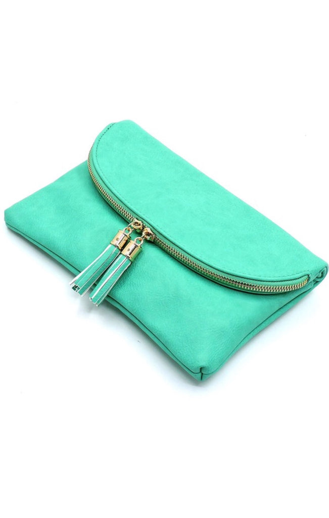 Vibrant State Of Mind Clutch-Turquoise