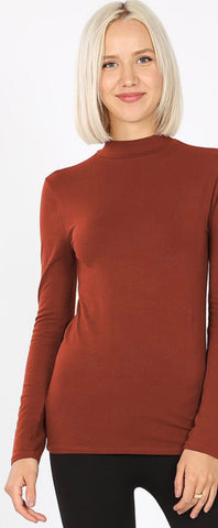 My Everything Rust Mock Neck Top