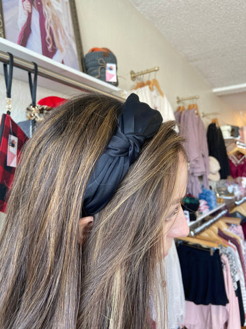 Knotted Wide Black Headband
