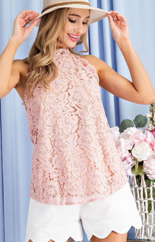 Dreamy In Lace Sleeveless Mauve Top