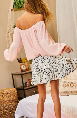 Going Places Ruffle White Leopard Skort