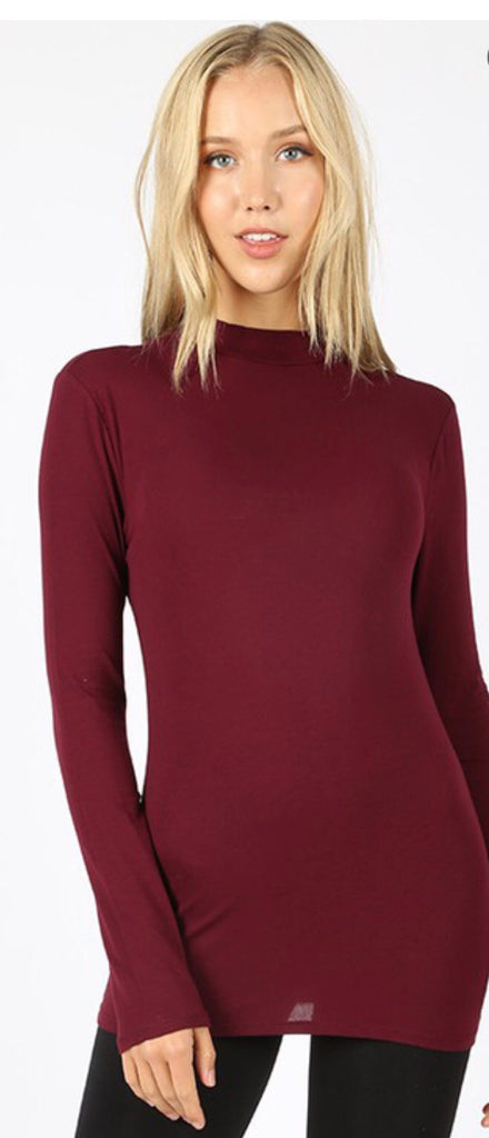 My Everything Burgundy Mock Neck Top