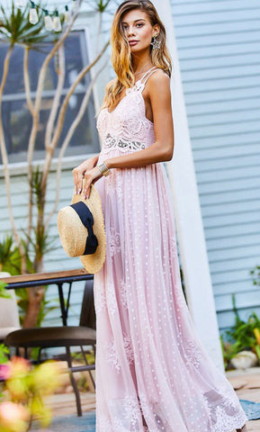 Dreamy Lace Blush Maxi Dress