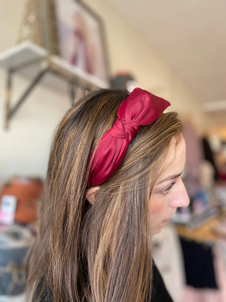 Knotted Wide Burgundy Headband