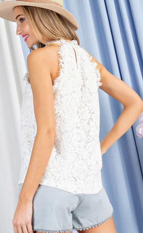 Dreamy In Lace Sleeveless White Top