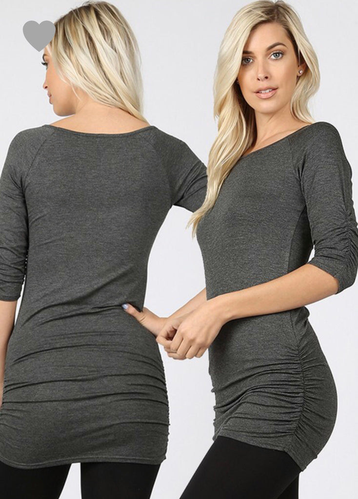 Luxe 3/4 Sleeve Charcoal Tunic