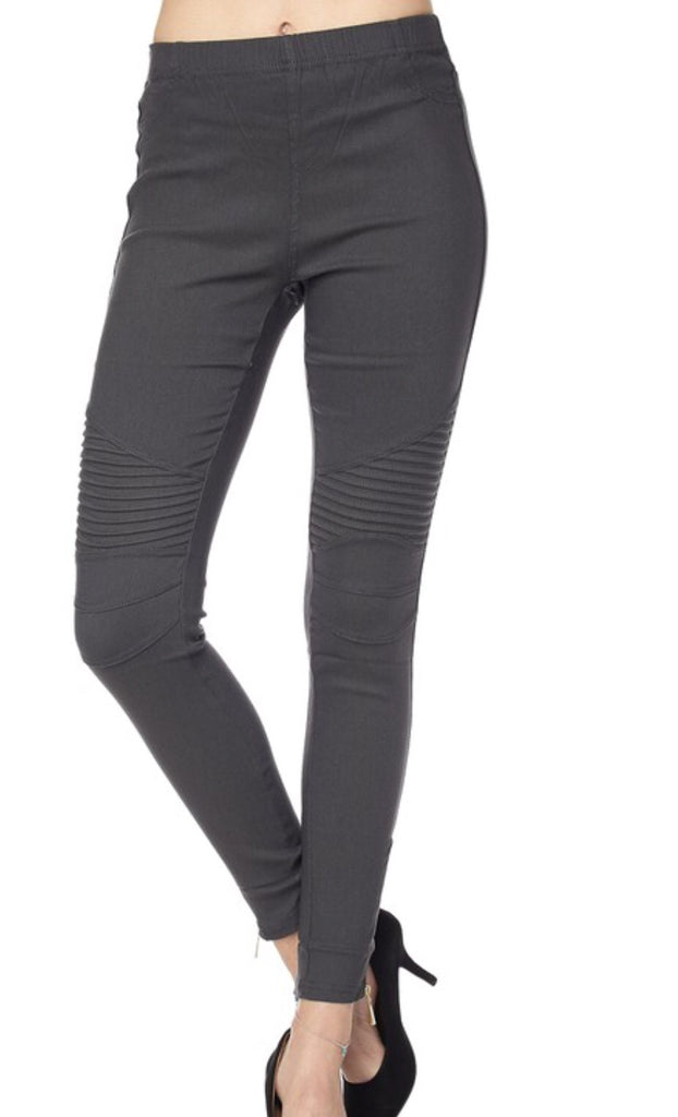 Into The Night Charcoal Moto Jeggings