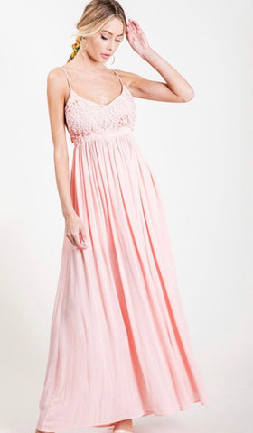 Once Upon A Time Light Pink Maxi Dress