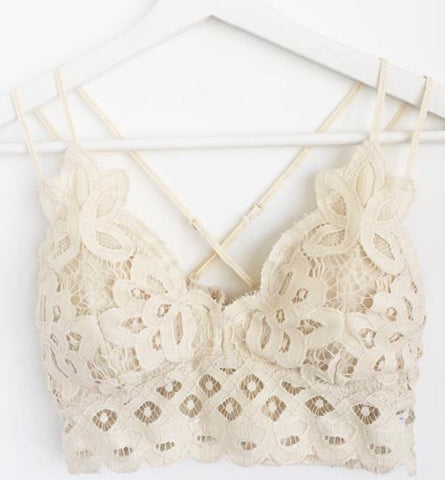 Love Me In Lace Bralette-Cream