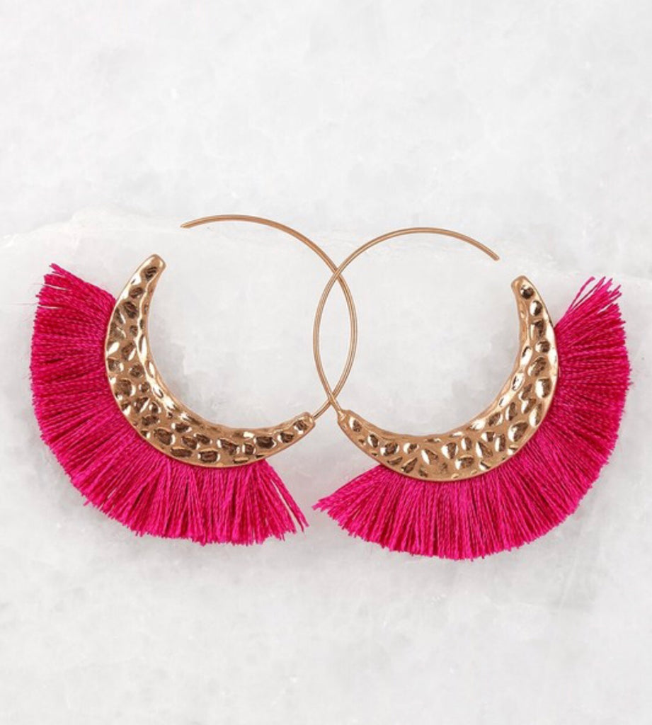 Fierce Fuschia Fringe Earrings