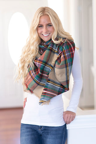 Plaid Oversized Blanket Scarf -Tan
