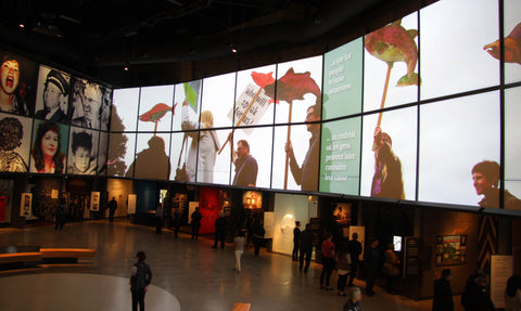 Large video displays inside the Canadian Museum for Canadian Rights