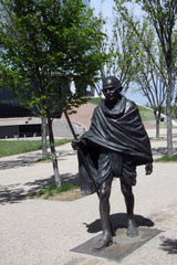 Ghandi at the entrance to the Canadian Museum for Human Rights