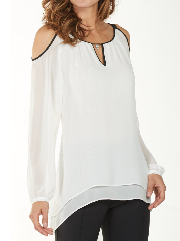 Frank Lyman Layered Tunic, White - size 4