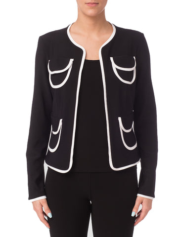 JOSEPH RIBKOFF BLACK JACKET WITH WHITE TRIM