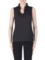 joseph ribkoff 183400 black ruffle neck top