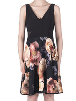 Joseph Ribkoff Black and Cream Floral Dress
