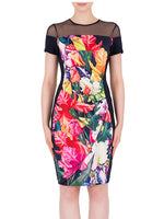 Joseph Ribkoff Floral Mesh Detail Dress