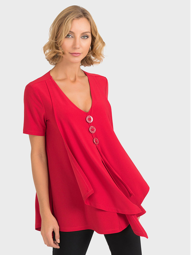 Joseph Ribkoff Red Button Top - size 8 only