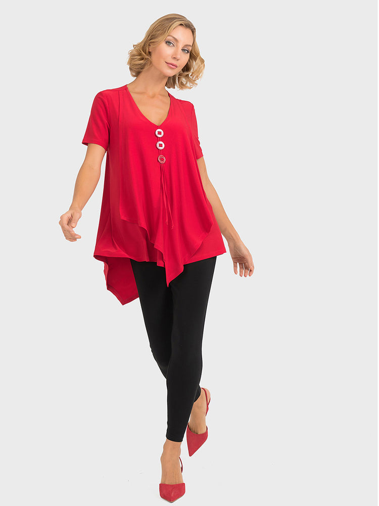 Joseph Ribkoff Red Button Top