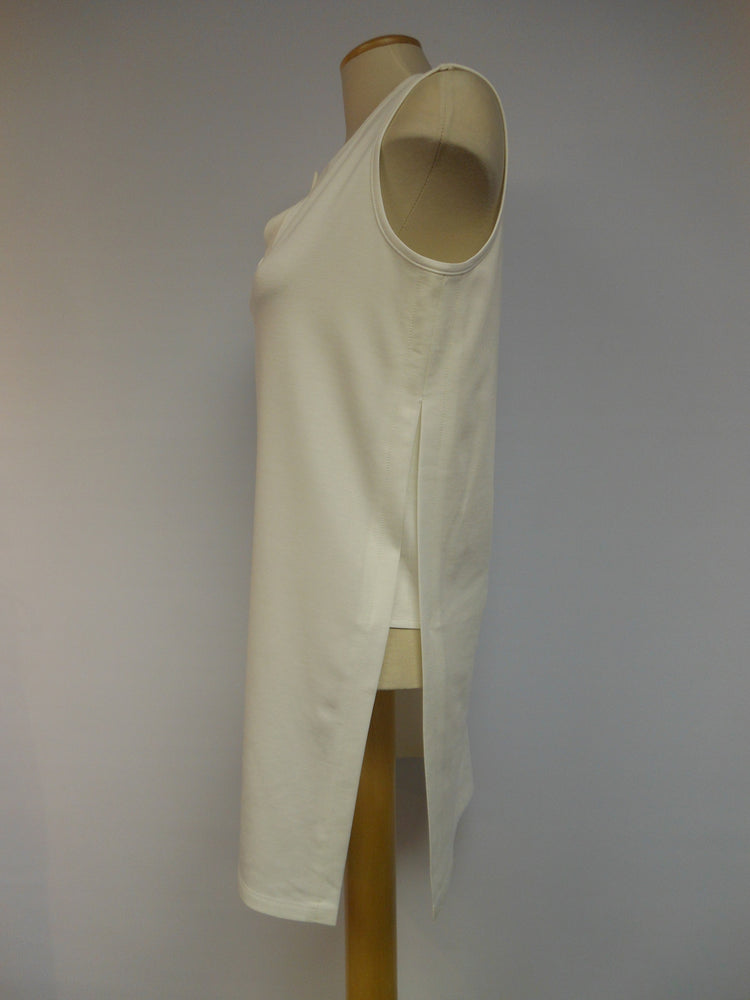 Sleeveless Pullover Long Tunic, Off-white