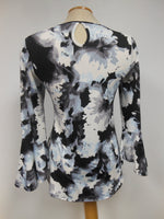 Black Grey White Floral Top, size medium only