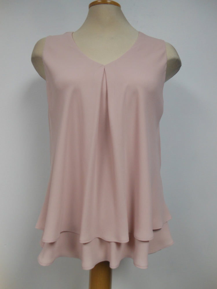 Frank Lyman Blush Dark V-neck Tank