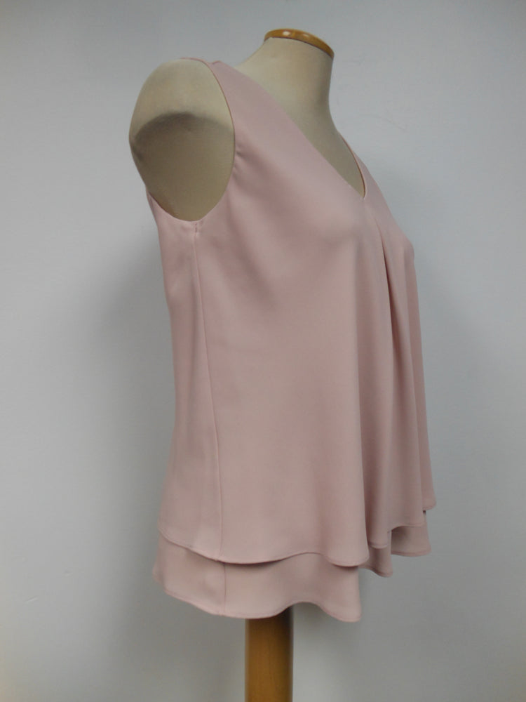 Frank Lyman Blush Dark V-neck Tank - one left size 10