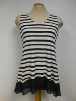 Frank Lyman Off White Black Striped Swing Tunic