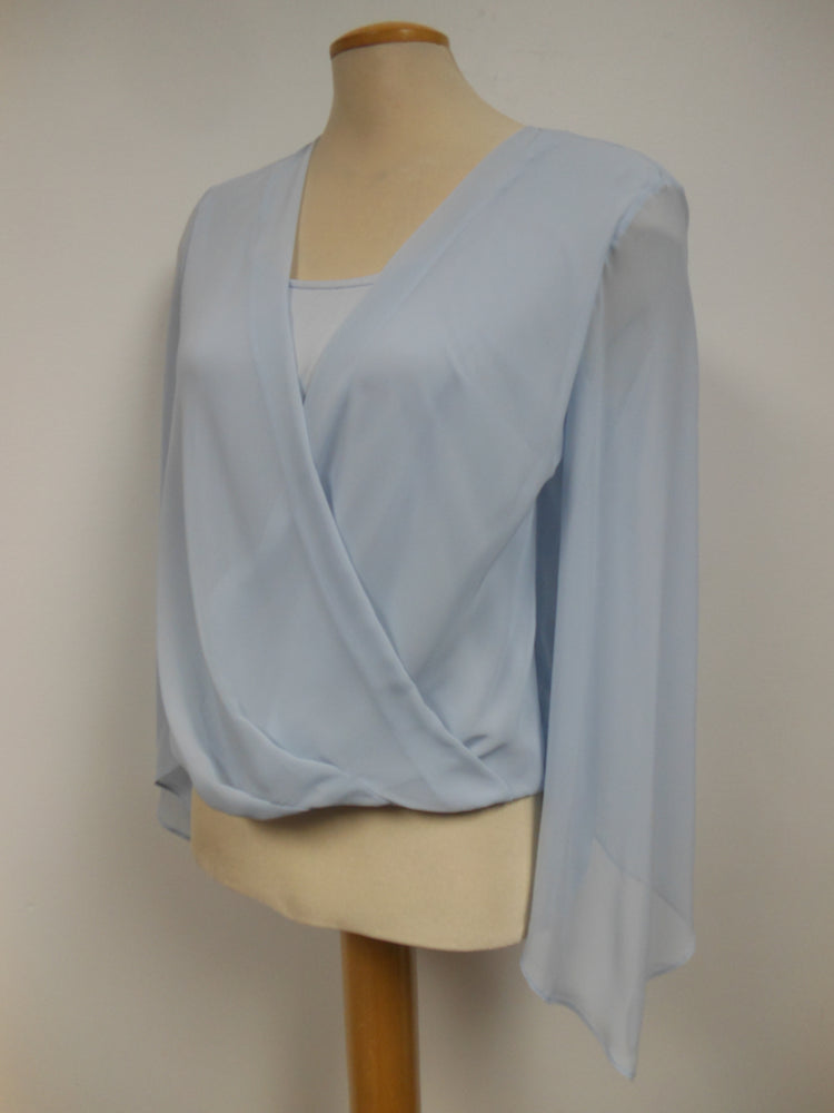 Frank Lyman Light Blue Cross Over Top - one left, size 6