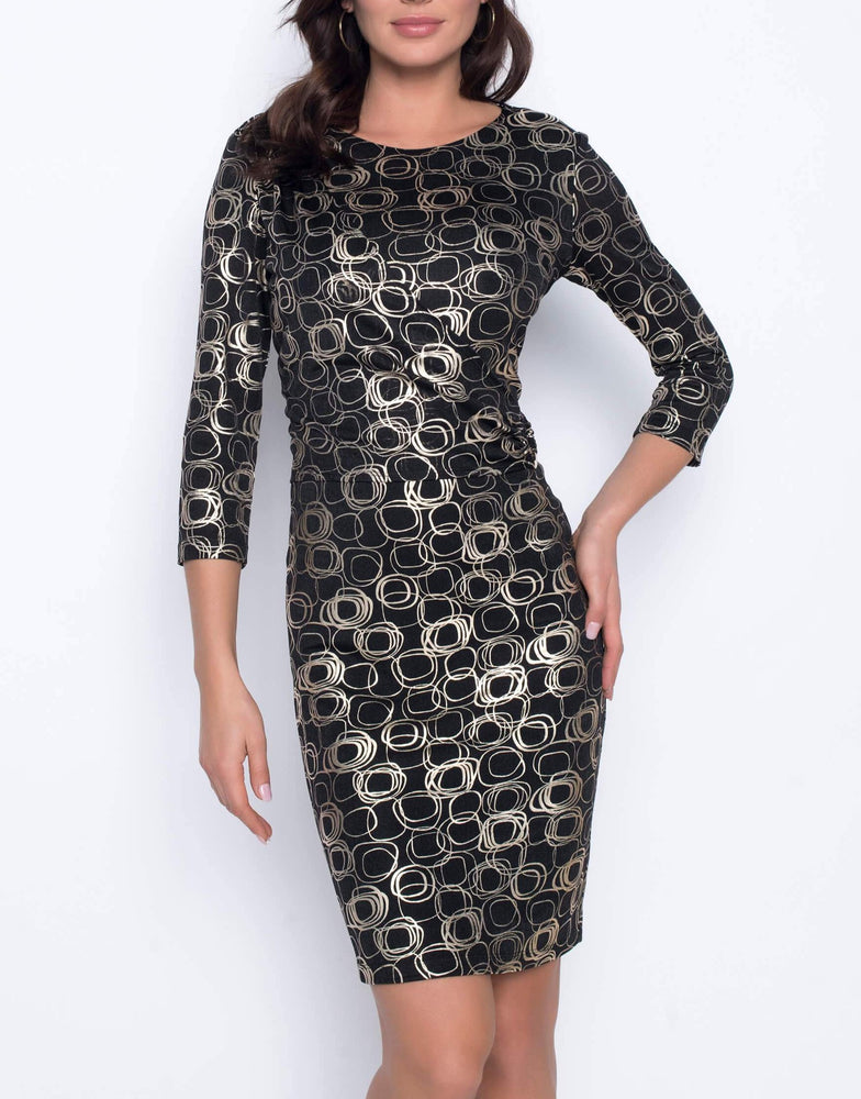 Frank Lyman Black Gold Dress with 3/4 length sleeves