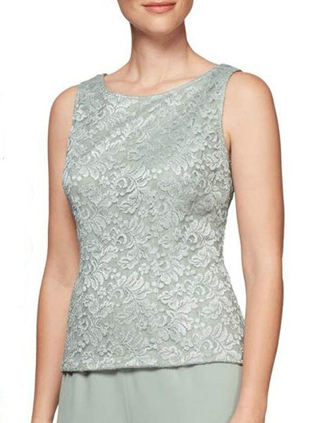 Ice Sage Lace Twin Set with Silver Accents - Sleeveless Shell and Jacket